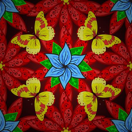 mariposas amarillas: Vector vivo sin fisuras patrón de la mano abstracta dibujado con plantas y mariposas amarillas.