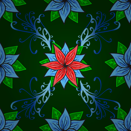 green leaves pattern on a blue background. floral seamless with dark blue foliage translucent on a blue. Red and blue flowers.