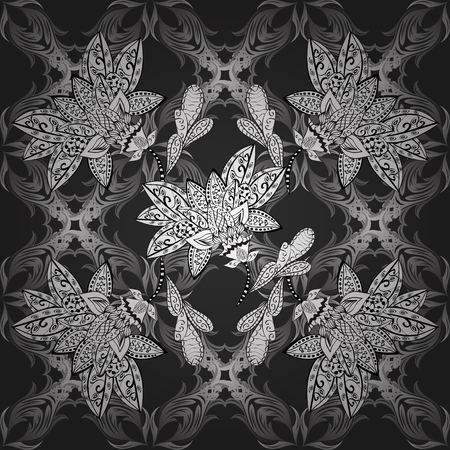 Seamless vintage pattern on black background with gray elements. Illustration