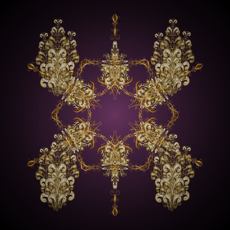 Oriental vector pattern with arabesque and floral elements. Abstract golden ornament