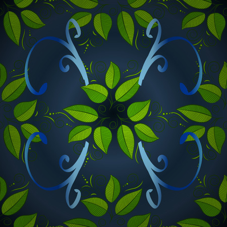 green leaves pattern on a blue background. floral seamless with dark blue foliage translucent on a blue. Illustration