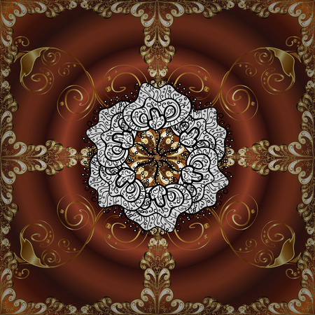 lakshmi: Abstract beautiful background with golden and white floral elements on brown radial background.