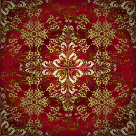 lakshmi: Abstract beautiful background with golden and white floral elements on dark red radial background. Illustration