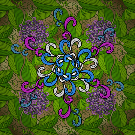 allover: lilac, blue, pink and white mandala with green leaves pattern on a yellow background. Illustration