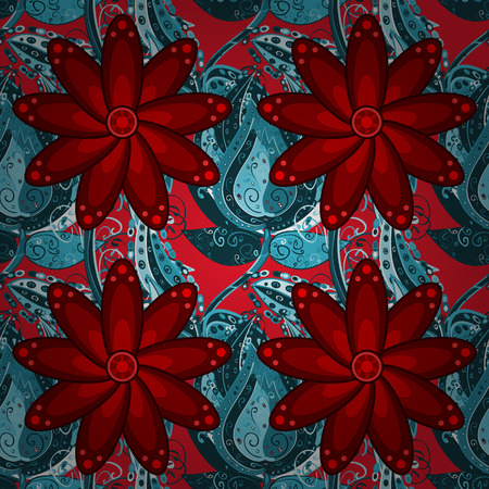 blue gradient: red flowers and blue gradient doodle flowers pattern. Vector.