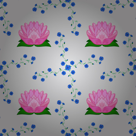 nuance: rosy lotus lilies decorative floral element on light background. vector illustration