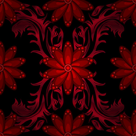 claret: decorative red seamless wallpaper with dark background, vector version