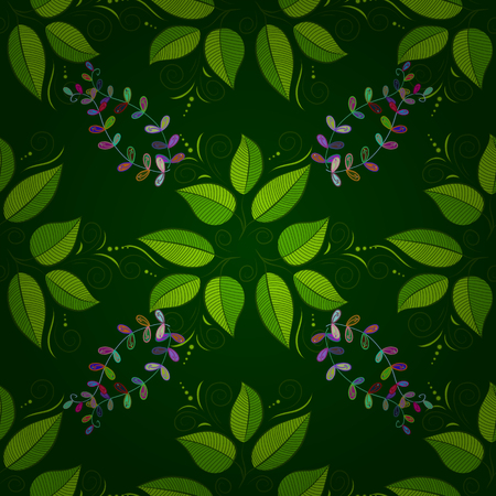 seamless background with green leaves and colorful branches. Vector.