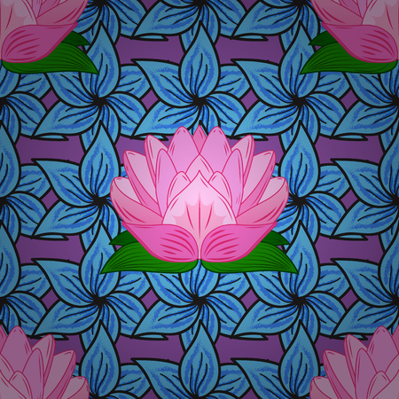 Seamless vintage pattern on blue and pink floral background with green leaves.