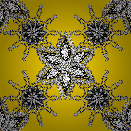 mandalas: Seamless background. Circle flower mandalas seamless pattern in black white and yellow, vector
