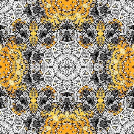 golde: Seamless background. Circle flower mandalas seamless pattern in black white and yellow, orange, golden, vector Illustration