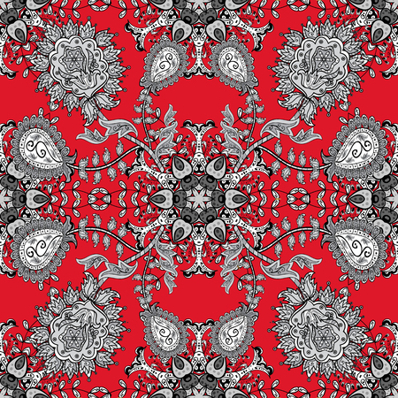 Pattern with white doodles and mandala flowers on red background. Vector illustration. 版權商用圖片 - 62272984