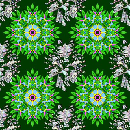 Hand drawn seamless pattern with mandalas. Vector illustration.