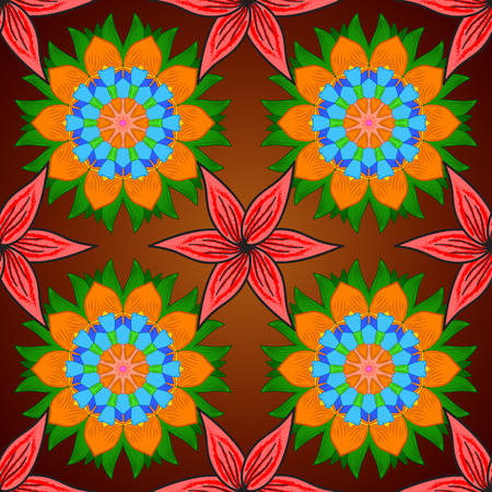 Seamless floral mandala pattern in orange, green, pink, red, brown on floral background.