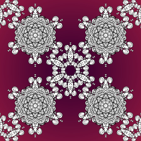 Pattern with white doodles and mandala flowers on dark red background. Vector illustration. Illustration