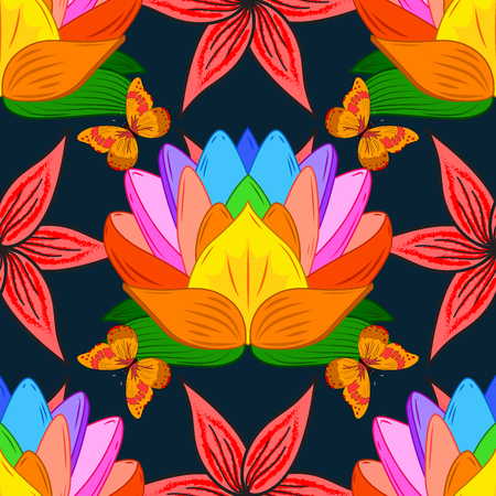 Floral composition with colorful lotus and orange butterflies on black background. Raster illustartion.