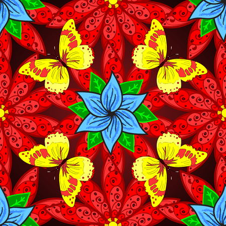 Vivid seamless abstract hand drawn pattern with plants and yellow butterflies. Stock Photo