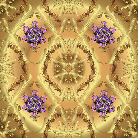 purpule: Pattern on golden background with floral doodles