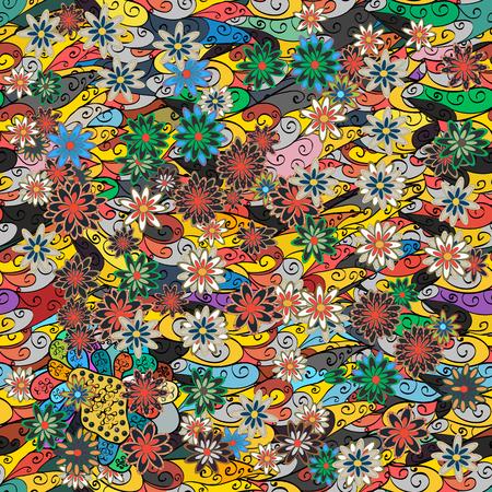 色とりどりの花でシームレスなパターンのベクトル イラスト。