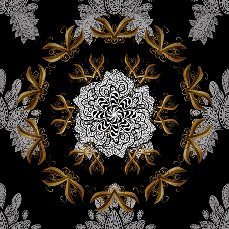 Seamless vintage pattern on black background with white and golden floral elements. Illustration