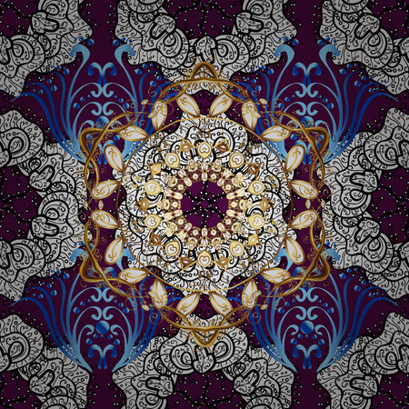 Vector boho chic flower seamless pattern. Elegant floral background. Mandala design element. Unusual flourish ornament. Pink, lilac, golden.