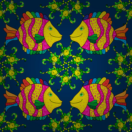 pink stripes: Seamless pattern with yellow and pink stripes fish with doodles elements on a blue background. Vector illustration Illustration