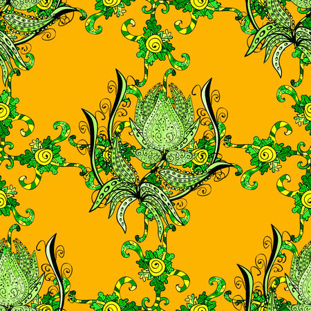 doodled: Seamless doodle pattern, green doodles flower ornament on yellow background. Stock Photo