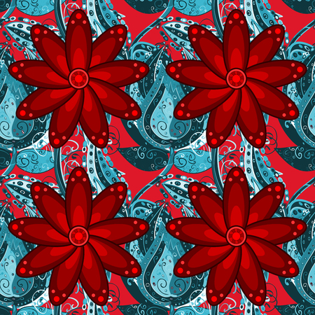 blue gradient: red flowers and blue gradient doodle flowers pattern. Raster.