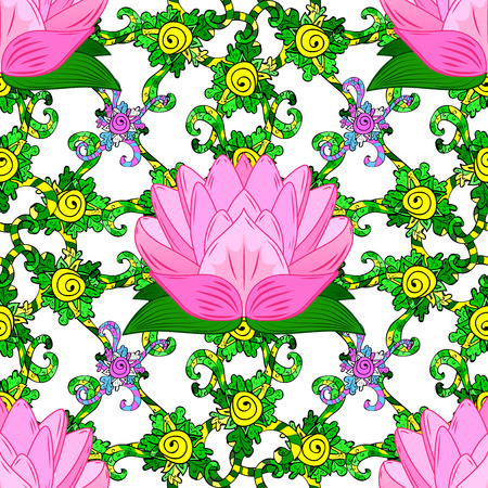 rosy lotus lilies decorative floral element on white background. raster.