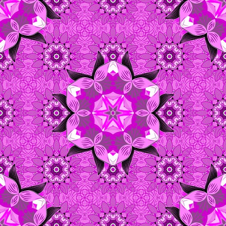 Violet lilac seamless pattern with mandala details. Vector.