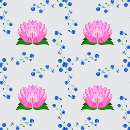 nuance: rosy lotus lilies decorative floral element on light background. raster illustration