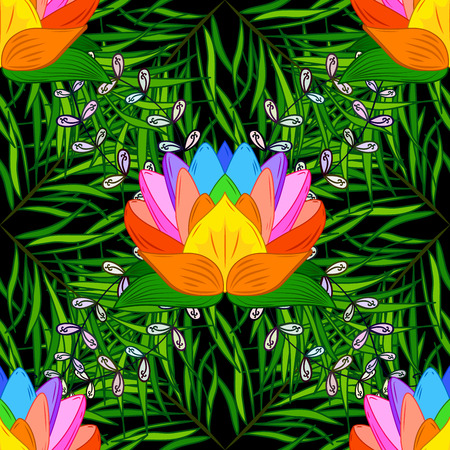lotus effect: Raster vivid seamless abstract hand drawn pattern with plants on black background.
