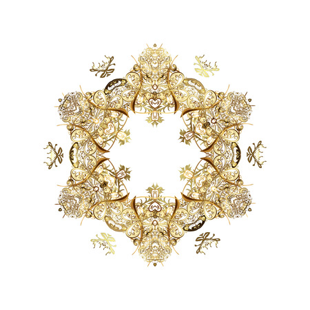 victorian christmas: Pattern floral elements. Abstract golden ornament. Raster illustration.