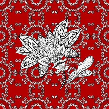 with white doodles and mandala flowers on red background. Raster illustration.