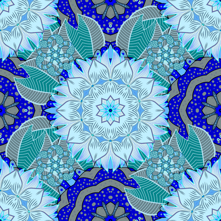scrollwork: Abstract flowers Pattern on Blue Background. Vector Illustration