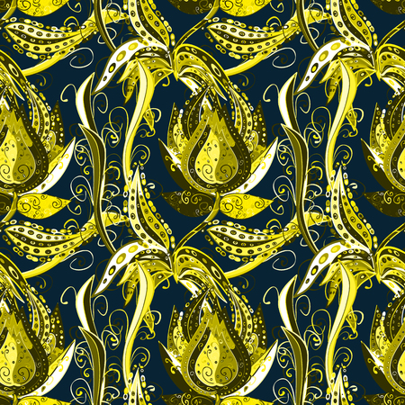 Seamless pattern with curls. Elegant scrollwork in the form of drops. Dark blue background with yellow and black patterns. Vintage ornament with floral stylized patterns. Illustration