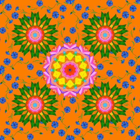 Seamless floral mandala pattern in pink, turquoise green, blue and pale orange on floral orange background. Illustration