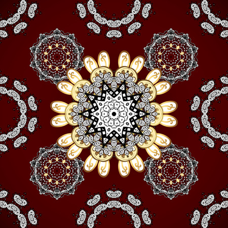 gold floral: Seamless vintage pattern on dark pink and red background with white and golden elements Illustration