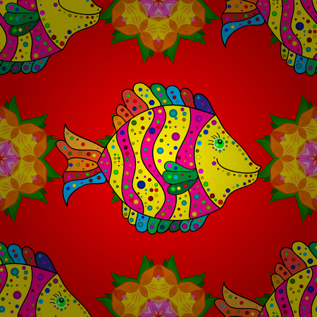 pink stripes: Seamless pattern with yellow and pink stripes fish with doodles elements on a red background. Vector illustration