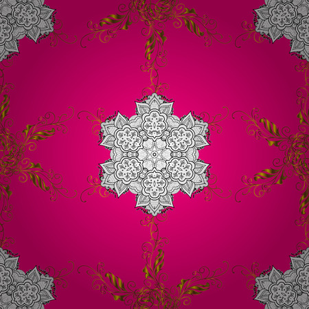elaborate: Seamless floral mandala pattern in pink, turquoise in white and golden.