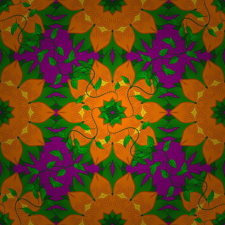 Seamless floral mandala pattern in pink, turquoise green and pale orange on floral lilac background. Illustration