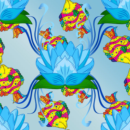 raster illustration: yellow coral fish on turquoise background seamless pattern. Raster illustration