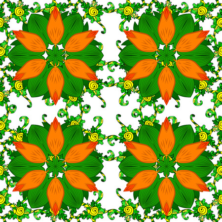 bstract: Seamless pattern with spring flowers. Cover, background. Orange and green colors. Raster illustration.