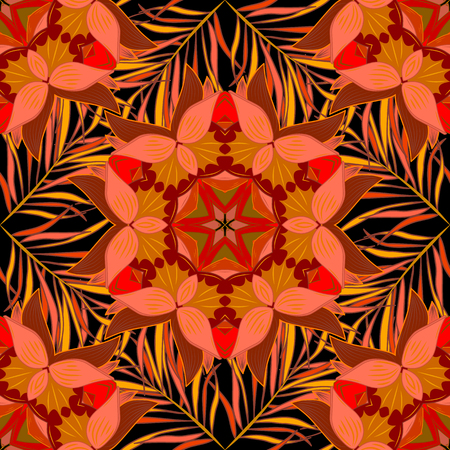 Colorful seamless pattern with flowers and round patterns in intense tropical shades - pink, black, yellow and orange