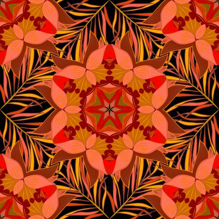 Kleurrijke naadloze patroon met bloemen en rond patronen in intense tropische tinten - roze, zwart, geel en oranje Vector Illustratie
