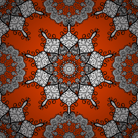 circle flower: Seamless background. Circle flower mandalas seamless pattern in black white and orange, golden vector Illustration
