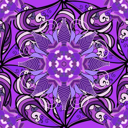 fussy: Vintage pattern on mandala round background with white flower. White, lilac mandalas background. Illustration