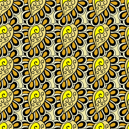 entangled: Tangled doodle pattern in yellow and brown colors. Seamless vector background. Illustration