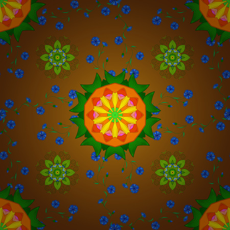 brown pattern: Oriental green and brown pattern. Vector rich filigree background. Illustration