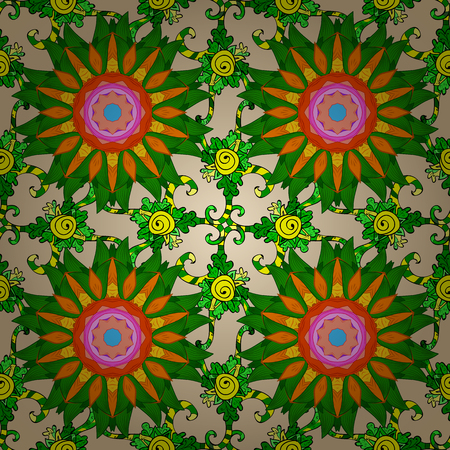 pink and green: Seamless floral mandala pattern in pink, green on floral background. Illustration